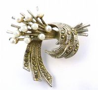 Vintage Faux Pearl Marcasite Studded Floral Posy Brooch By Exquisite.